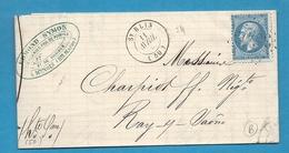 Haute Marne - St Blin Pour Ray Sur Saone (Haute Saone). 1866. LAC Ecrite à MANOIS - Marcophilie (Lettres)