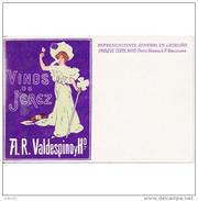 PUTP1799GCPA-LFTMD11822TCOT.Tarjeta Postal DE Barcelona.Publicitaria.VINOS DE JEREZ.A.R. VALDESPINO,representante - Comercio