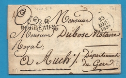 Gironde - Bordeaux Pour Auch (Gers). LAC En Port Payé De 1828. Recherche Du Comte De Preissac (nouveau Prefet) - Marcofilie (Brieven)