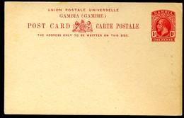 GAMBIA Postal Card #9 1 D. Mint 1912 - Gambia (...-1964)