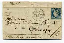 Période ARMISTICE /  Paris Grenelle Pour Gevingey (Jura) / 15 Février 1871 /  TP  YT N°37 - Marcophilie (Lettres)