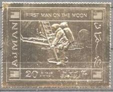 Ajman 1970, Space, Landing On The Moon, 1val GOLD - Raumfahrt