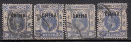 10c 4 Used, KGV Series, Overprint China, Wmk Multi Crown, 1917 - 1921 Hong Kong Used, As Scan - Hong Kong (...-1997)