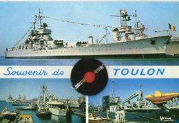 Toulon Navire De Ligne Le Jean Bart Et Visite De L'escadre Avec Pompon En Tissu   CPM Ou CPSM - Toulon