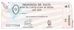 ARGENTINE   Provincia De SALTA   1 Australes   31/12/1987   P. S 2612e   UNC - Argentinië