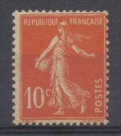 Type Semeuse Fond Plein Sans Sol. 10c. Rouge Orange (IA) Y138b - Neufs