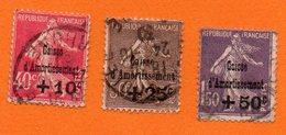 France-Oblitéré -1930-semeuse Surchargé- Caisse  D´Amortissement (3 Valeurs)  Cat Yvert N° 266/67/68-bon état - 1906-38 Sower - Cameo