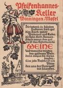 Carte Des Vins Du Restaurant Motel Pfeifenhannes Keller Winningen De 1956 Allemagne Deutschland - Alimentaire