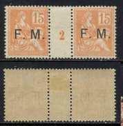 """FRANCHISE MILITAIRE - MOUCHON / 1902 PAIRE MILLESIME """"2"""" */** / COTE 450.00 EURO (ref T1316) - Millésimes"""