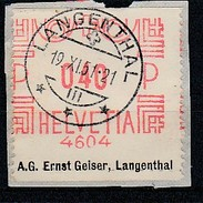Franking Label To Identify * Switzerland * 1951 * A.G. Ernst Geiser, Langenthal - Automatenmarken