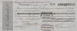 Lettre Change 16/1/1880 LALANDE Vins BORDEAUX Gironde Pour Goudet Limonadier Marseillan Hérault - Lettres De Change