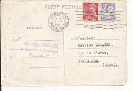 ENTIER POSTAL 1F20 IRIS Et + 30 Cts Rouge Cachet  PARIS 117   Rue Des Halles  1945  VILMORIN  Envoi à WAVIGNIES Oise - Entiers Postaux