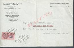 REÇU C.H BARTHELEMY CONSTRUCTEUR À FONTAINEBLEAU 1940 : - Autres