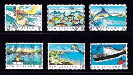New Zealand 1989 Heritage Issue - The Sea Set Of 6 Used - Fish, Boats - Used Stamps
