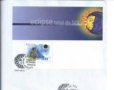 Astronomy.Fdc With Block Of Total Sun Eclipse 2001,Sumbe,Angola.Astronomie.FDC Mit Totalem Sonnenfinsternis Block.3sca.R