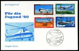 39967) Berlin - Michel 617 / 620 - FDC - Luftfahrt, Jugend 1980 - [5] Berlijn