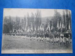 RHONE  69   TARARE  -  FETE GYMNASTIQUE DES 29 ET 30 JUIN 1912  LES ETANDARDS    TRES  ANIME     PLIS TACHES  ETAT MOYEN - Tarare