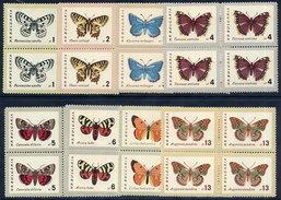 BULGARIA 1962 Butterflies In Blocks Of 4 MNH / **.  Michel 1339-46 - Bulgaria