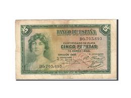 Espagne, 5 Pesetas, 1935, KM:85a, 1935, B+ - [ 2] 1931-1936 : République