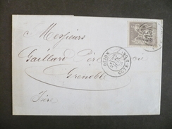 France - 1876 Type Sage N° 77 Sur Lettre Cachet De Dijon Du 22 Juin 1878 - Marcophilie (Lettres)