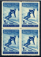 BULGARIA 1959 Ski Sport Anniversary Block Of 4 MNH / **.  Michel 1102 - Skiing