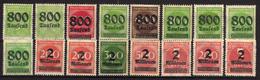 Deutsches Reich, 1923, Mi 301-312 A + 309 B; 312 B **/* [240317L]