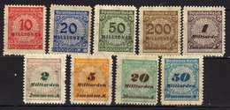 Deutsches Reich, 1923, Mi 318-319; 321; 323; 325-327; 329-330 B ** (Mi 319; 329 *) [240317L]
