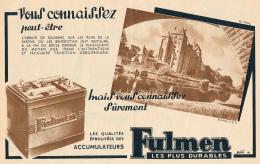 Ancienne Publicite (1951) : Batterie, Accumulateur FULMEN, Abbaye De Solesmes, Sarthe, Bénédictins - Advertising