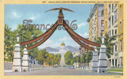 Eagle Gate Looking Towards State Capitol - Ensigne Peak On The Background - Salt Lake City
