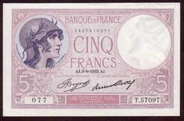 Billet - 5 Francs VIOLET Du 03 08 1933 UNC - 5 F 1917-1940 ''Violet''