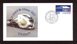 Enveloppe TGV Record De Vitesse 2007 - Bureaux Temporaires Paris - Treni
