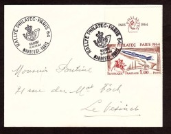 Enveloppe Rallye Philatec Maubeuge - Paris - 1964 - N° 1422 Avec Vignette - Frankreich
