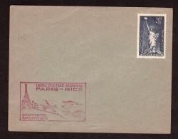 """1938 -Enveloppe Avec Cachet """"Ligne Postale Aérienne Paris-Nice"""" Et Tp """"Aide Aux Réfugiés"""" (Statue De La Liberté) - Marcophilie (Lettres)"""