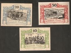 P102-25. Austria Die Gemeinde TREUBACH 50 20 10 Heller 1920 Austrian Notgeld 3psc Lot - Autriche