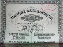 Turquie  / Turkey  :  Empire  Ottoman :   Banque De Salonique : Action De 100 Francs 1905 - Otros