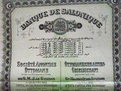 Turquie  / Turkey  :  Empire  Ottoman :  Banque De Salonique : Action De 100 Francs 1910 - Otros