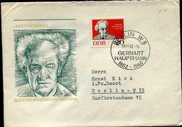 VR 635  Allemagne RDA 1er Jour Gerhart Hauptmann 19.11.62