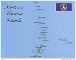 Map & Flag Of Northern Mariana Islands - Carte Des Iles De Nord Mariannes - Northern Mariana Islands