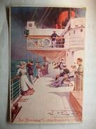 """Carte Postale Paquebot """"La Provence"""" - Pont Promenade   (CPA Couleur Correspondance 1917  ) - Paquebots"""
