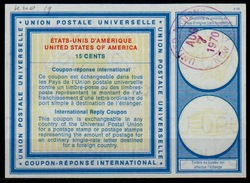 UNITED NATIONS NEW YORK  Type XIX 15 CENTS  Intern. Reply Coupon Reponse Antwortschein IRC O D2  28.05.71 - Cartas