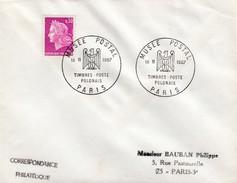 LETTRE MARIANNE DE CHEFFER 0.30 - CACHET ROND MUSEE POSTAL TIMBRE POSTE POLONAIS - PARIS 18 11 1967 / 5 - 1961-....