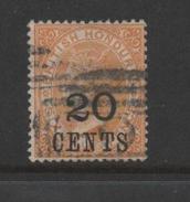 British Honduras 1888 Queen Victoria 20c On 6d Yellow.SG 41.Used. - Honduras Britannico (...-1970)