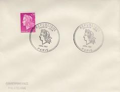 LETTRE MARIANNE DE CHEFFER 0.30 - CACHET ROND REPUBLIQUE PREMIER JOUR  - PARIS 4 NOV 1967 / 5 - 1961-....