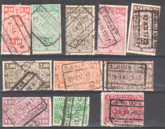Belgium Railway/Trains/Railways/Eisenbahnmarken. Lot Of 11 Old Used Railway Stamps. Nice Cancelations. No.4 - Railway