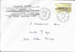 N° 2334 FRANCE -  TGV POSTAL - TARIF 1.7.84/31.7.85  - AVEC CACHETS 1ERE LIAISON - PARIS GARE PLM / LYON MONTROCHET 1984 - Postmark Collection (Covers)