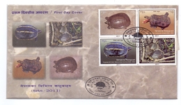 2011 NEPAL TURTLE SERIER FDC MARINE LIFE.WITH LEAFLET. - Tortues