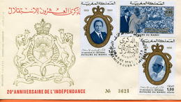 """Maroc,Morocco,FDC 1975,n°748/741 """" 20ème Anniversaire De L´indépendance """" Asablanca - Maroc (1956-...)"""