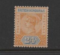 British Honduras 1891 Queen Victoria 24c Yellow & Blue.Unused. - British Honduras (...-1970)