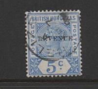 British Honduras 1899 Queen Victoria 5c Blue Overprinted Revenue.Fine Used. - Honduras Britannico (...-1970)
