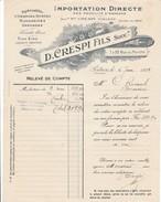 POITIERS -   D.CRESPI  Fils  7 Et 22 Rue Du Marché .Specialité D'oranges, Citrons, Mandarines Etc . Beau Document - Agriculture